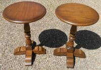 Pair Oak Pedestal Stands by Old Charm